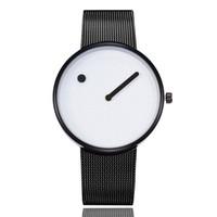 reloj de pulsera de puntos al por mayor-Originalidad mujeres de lujo reloj negro de malla de acero inoxidable relojes para hombre Marca círculo punto de cuarzo relojes de pulsera reloj regalos Relogio Feminino