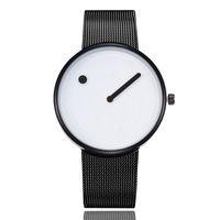 montre-bracelet à pois achat en gros de-Originalité Femmes De Luxe Montre Black Mesh En Acier Inoxydable Mens Montres Marque Cercle Dot Quartz Montres Horloge Cadeaux Relogio Feminino