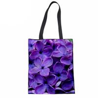 lilas violet achat en gros de-Sac à provisions en coton fourre-tout pour les femmes violet lilas Imprimer réutilisable sac de voyage écologique épicerie fourre-tout fille épaule sac à main