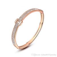 pulsera fina de oro rosa al por mayor-Venta caliente Joyería Coreana de Oro Rosa H con brazalete de Cristal Austria Pulseras de Lujo para Mujeres Regalo Joyería Fina Accesorios de Moda