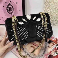 Wholesale Pearl Handbags - Marmont velvet bag shoulder bags chain crossbody bag luxury brand handbags high quality Diamond pearl famous evening party purse 2018