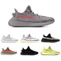 Wholesale hard soled shoes - 2018 Sply 350 V2 Beluga 2.0 Semi Frozen Yellow B37572 Gum Sole Zebra Cream White Bred 350 V2 Designer Running Shoes Sneakers
