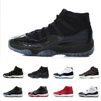 Wholesale Prom Shoes Size 11 - With Box Retros 2018 Black out Prom Night 11 Midnight Navy blue 11s Gym red Basketball Shoes Men Women sports Sneakers size 36-47