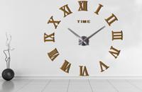 Wholesale new design wall clock - New 20pcs Fashion quartz watch home decor limited sale 3d big mirror diy real wall clock modern design room gift