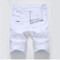 mens denim shorts tamanho 42 venda por atacado-Nova Moda Mens Motociclista Jeans Curto Plissado Rasgado Motocicleta Denim Shorts Para Homem Com Multi Zíperes Plus Size 28-42