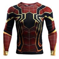 camiseta 3d manga larga al por mayor-Manga raglán Spiderman Impresas en 3D camisetas Hombre Camisas de compresión Camisetas de manga larga Crossfit Tops Camisetas Gimnasios Fitness Camiseta Rashguard