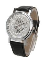 relógio de luxo vencedor venda por atacado-Homens de luxo Relógio Mecânico das mulheres Esqueleto Mecânica Sliver Ouro relógio de pulso Vencedor Oco de Aço Inoxidável Pulseira De Couro Preto Estilo Mix