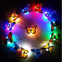 Wholesale small wall led - Butterfly LED Night Light Lamp Colorful Luminous Butterfly Home Wedding Decoration Lights Lamp With Sticker led Wall Decor KKA4395