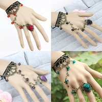 Wholesale Slave Girl - Newest Girls Women Jewelry Vintage Punk Gothic Lace Hand Chain Hand Harness Bracelet Slave Chain Bracelet Party Gifts