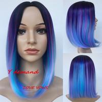 ingrosso parrucca blu viola mix-12 '' Black Mix Blue Purple Parrucche sintetiche Short bob wig Parrucche per le donne Resistenti al calore capelli lisci per le donne Nero