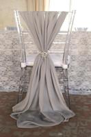 ruban cadeau organza blanc achat en gros de-Mode populaire mariage Sashs de chaise choisir couleur mousseline de soie 150 cm longueur serviette échantillon usine parti banquet chaise couvre mariage