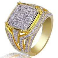 Wholesale fashion rings for sale - new mens ring vintage hip hop jewelry Zircon iced out stainless steel rings luxury real gold plated for lover fashion Jewelry