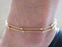 ingrosso braccialetto d'argento doppio collegamento-Cavigliere d'oro all'ingrosso doppio strato tondo perline bracciali alla caviglia con catene a maglia semplici gioielli argento spiaggia a piedi nudi per le donne