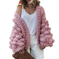 Wholesale korea fashion winter coat - Pink Coarse Knitted Sweater Women 2018 Winter Fashion Lantern Sleeve Cardigan Female Open Front Korea Sweater Coat