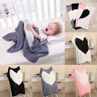 Wholesale baby girls bedding - Loving Heart Baby Blanket Warm Knitted Baby Bedding Wrap 100*78cm Soft Blankets Girls Blankets Newborn Swaddling 4 Colors OOA3975