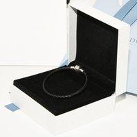 siyah bilezik kutusu toptan satış-Siyah Gerçek Deri Erkek Halat Bilezikler Orijinal kutusu Pandora 925 Ayar Gümüş Takılar Bilezik Kadınlar için Noel hediyesi