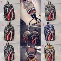 Wholesale cool men shoulder backpacks resale online - Graffiti Anime Shark Printing Backpacks For Teenage Boy Girl Women Men School Bags Cool Shoulder bag Travel Backpack C4187
