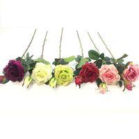 искусственные цветы оптовых-6 цветов одно-чувство две розы один цветок-один бутон искусственный цветок высокого класса шелковые украшения цветы искусственный цветок Оптовая