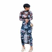 Wholesale floral mesh dress - Hot Style Mesh Long Sleeve Bodycon Dress Elastic Transparent Print Dress Evening Celeb Party Long Dress WY6421