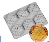 moldes hechos a mano al por mayor-6 cavidades de abeja moldes para pasteles mousse molde para pasteles Molde de silicona para jabón hecho a mano Velas Dulces moldes para hornear de chocolate herramientas de cocina moldes de jabón de hielo