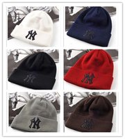 Wholesale white sailor hat men - New Winter NY Baseball 6 Colors Wool knitted hats for men and women Baseball Beanies Lovers caps Free Drop Shipping Mix Order