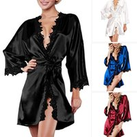 Wholesale Raglan Women - Summer Sexy Women Satin Lingerie Robe Dress Sleepwear Nightwear Underwear G-String Black White Plus Size S-2XL