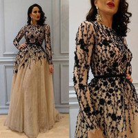 Wholesale womens pink ball gown - 2018 Gorgeous Beading Prom Gown with Long Sleeves Lace Crew Neckline Evening Dresses Champagne Elegant Womens Dress Plus Size Formal Wear