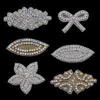 Wholesale Manual Sewing - 20PC Handmade Bling Beaded Rhinestone Applique Sew On Manual Flatback Crystal Flower Cloth Applique for Hair Accessories