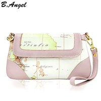 Wholesale world map bag brand online - High quality clutch bag world map women messenger bags leather handbags women famous brands vintage cross body bags for women