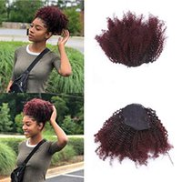 Wholesale 99j kinky curly closure online - Ombre kinky curly drawstring ponytail extension b j ombre ponytail top closure puff hairpiece clip in g afro kinky curly hairpiece