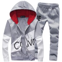 erkekler renk takımları toptan satış-Naiveroo Bahar Sonbahar Hoodie Kazak Ceket + Joggers Sweatpants Adam Baskı Suits Sportwear Eşofman Mücadele Renk 6Q1783