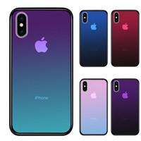 iphone renk degrade kutusu toptan satış-Temizle Temperli Cam Durumda iPhone XS Max Için XR 7 8X6 Artı Degrade Renk Mavi Ray Aurora Cilt Geri Telefon Kapak