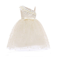 Wholesale new small girls dresses - INS Girl Princess Lace Dress Off Shoulder With Small Ball Style Summer Petal Sleeveless Tutu Dress Kids Elegant Dress NEW Arrival