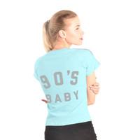 ingrosso maglietta coreana delle donne di modo-Lady's Tshirt 2018 Summer Korean Fashion Blue Color Carino Simple Sexy Slim anni '90 Lettera Lettera indietro Stampa camicia a righe per le donne