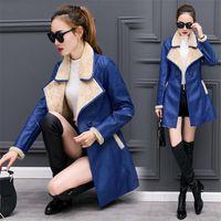 Wholesale woman sheep coat - 2017 Winter Women's Jacket Leather Coat Coat High Quality Korean Edition Brush Thicken Medium Warm Fur Sheep Leather Jacke