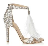 kadın beyaz sandalet yapay elmas toptan satış-Üst Satış Kristal Süslenmiş Beyaz Yüksek Topuk Sandalet Ile Tüy Fringe Rhinestone Sandalet Gelin Düğün Ayakkabı Kadın Pompaları