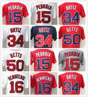 Wholesale Pedroia Jersey - Sox 34 David Ortiz 15 Dustin Pedroia 50 Mookie Betts 16 Andrew Benintendi 9 Ted Williams CoolBase Baseball Jersey Boston Stitched Red