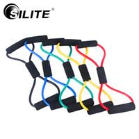 aparatos de gimnasia para el pecho al por mayor-SILITE 8 Shaped Chest Developer Resistance Loop Bandas Crossfit Yoga Fitness Equipment Palites para hombres Entrenamiento Pull Rope Tube