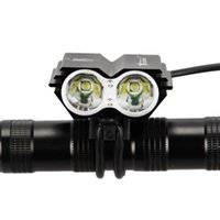 antorcha de bicicleta led al por mayor-Luz de bicicleta SolarStorm X2 7000Lúmenes 2x XM-L T6 Faros de bicicleta Faros nocturnos Faros de bicicleta Antorcha Lámpara + Cargador + Batería