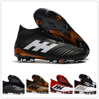 Wholesale Ground Spikes - Wholesale Predator 18+ Firm Ground Cleats Mens Soccer Boosts Football Shoes High Quality With Box