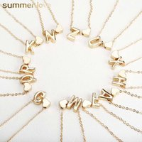 Wholesale 26 Intial Letter Alphabet Heart Pendant Necklace for Women Gold Color A Z Alphabet Necklace Chain Fashion Jewelry Gift