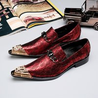 Wholesale careers wine - Limited Edition Handmade Oxford Men Dress Shoes Red Wine Genuine Leather Golden Pointed Metal Toe Party Wedding Shoes Men with Tassal, 38-46