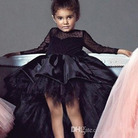 Wholesale pink sash teen dress for sale - Group buy 2019 Hi Lo Girls Pageant Dresses Jewel Neck Long Sleeves Lace Flower Girl Dresses Toddlers Teens Kids Wear Birthday Party Communion Dress