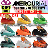 Wholesale mix kids shoes - New Original Mens Kids Womens Mercurial Superfly VI Elite FG Football Boots High Ankle Orange Soccer Shoes Boys Soccer Cleats