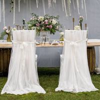 Wholesale Chiffon Wedding Chair Covers With Sashes Romantic Chair Cover Decortive Long Tulle High Chair Skirt Slipcovers Wedding Supplies WCS01