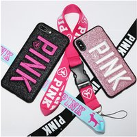 Wholesale Design Bling Case - For iphoneX Cell phone Case Pink letter Fashion Design Glitter cases Love 3D Embroidery Pink bling COVER CASE For iPhone 8 free shipping