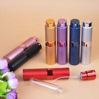 botellas mini spray de color al por mayor-10 ml perfume atomizador girable botella de perfume de viaje aerosol recargable portátil mini contenedor cosmético multi color nna298