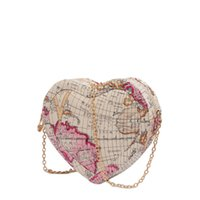 Wholesale cross maps - 2018 new fashion map cute heart bag,stripe and spell color are simple and delicate lady chain bag.T636