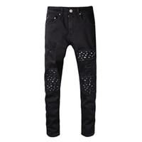 случайные черные отверстия для брюк оптовых-Классический Мири разорвал отверстия дизайн джинсы черный повседневная длинные брюки весна хип-хоп рэп улица брюки карандаш брюки