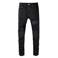 289093101db Classic miri Ripped Holes Design Jeans Black Casual Long Pants Spring HIp  Hop Rap Street Trousers Pencil Pants